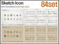 빈티지 스케치 아이콘 패키지 Vol.01(84종)_감각피티