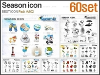 PNG 계절 아이콘 패키지_Vol.02(60set)_조이피티